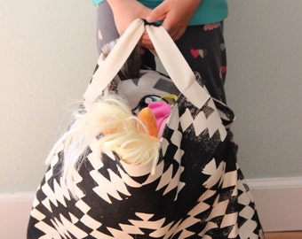 Play & Carry Soft Storage Tote - Aztec Design Soft Storage - Fabric Storage Container - Large Toy Container