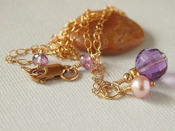 Amethyst Necklace, Freshwater Pearl, Mauve, Pendant,14kt Gold Filled, February Birthstone - PEACE