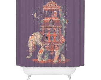 Elephant Africa India Shower Curtain Beautiful Purple Animal Adventure World Travel Bohemian Bathroom Decor