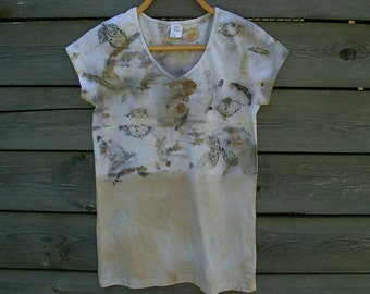 Ecoprint tshirt hand dyed