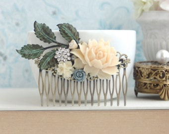Ivory Rose Large Comb, Rhinestone, Dusty Blue, Large Green Verdigris Leaf Branch, White Rose Flower Large Comb. Ivory Rustic Fall Wedding