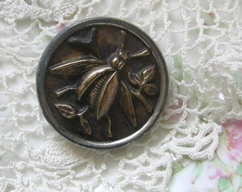 Large Brass Antique Picture Button - Mayfly Insect Button - Rare Collectable Button