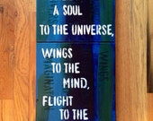 Acrylic Painting, Plato quote // One of a Kind, Colorful Wall Decor - 3 Canvas // Blue, Green, White // Hand painted for your Home