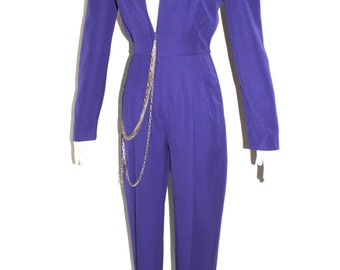 NORMA KAMALI OMO Jumpsuit Purple Wool Aviator One Piece - Authentic -