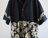 SALE - Vintage Tropical  Island Style Black White Floral Retro Surf Shirt - Mens Size Large