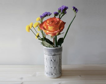 Sweater Vase | textured cable knit hand-built ceramic vase | office studio home decor | floral flower | made to order, pick your colors