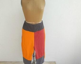Plus Size Clothes Plus Size Pants Womens T-Shirt Capris Women's Culottes Recycled Tees Gray Red Orange Cotton Pants Handamde Pants ohzie