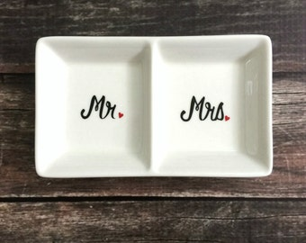 Ring Dish - Mr. and Mrs. Wedding Ring Holder