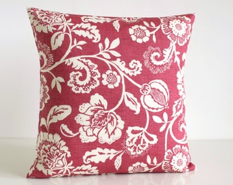Shabby Chic, Pillow Cover, Floral Cushion Cover, French Country Pillow, 18 Inch Pillow Cover, 18x18 Pillow Sham - Tapestry Flowers Raspberry