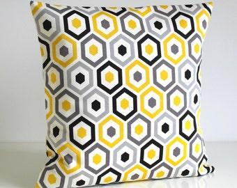 Throw Pillow Cover, Pillow Cover, Pillow Sham, Pillow Covers, Cushion Cover, Accent Pillow Cover, Pillow - Beehive Sunshine