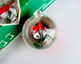 Christmas Ornaments Jewelbrite By Decor Novelties Inc Unbreakable Plastic Indoor Outdoor Holiday 1960s Set of 4 With Original Box