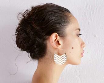Checkers Hoops Small - Geometric Hoop Earrings - Boho Jewelry - Big Earrings