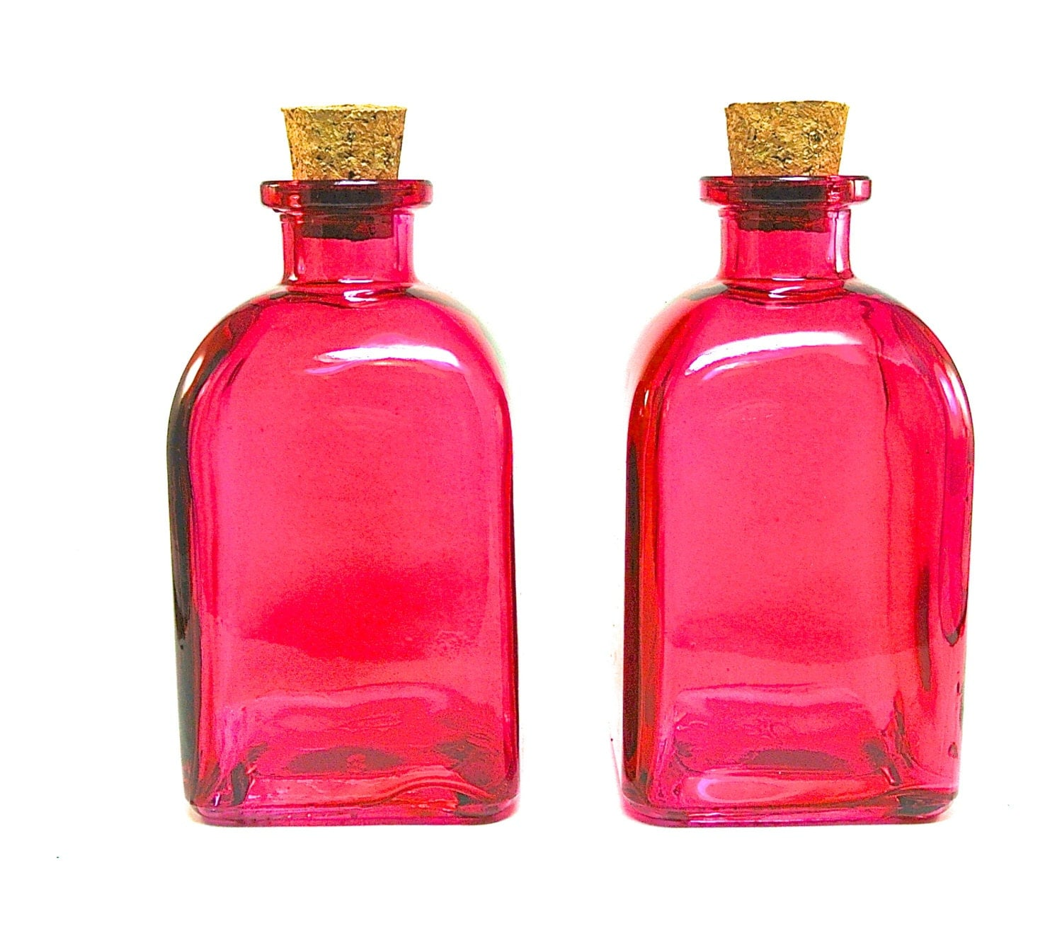 2 fuchsia glass bottles with corks 250ml 8 5 ounce reed for Colored glass bottles with corks