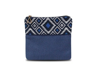 Small blue pencil case with ethnic pattern white and blue print