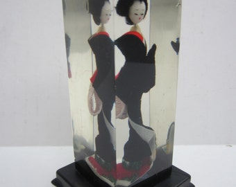 Miniature Geisha in Lucite Display Case - Japanese Doll