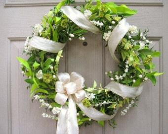 White Wreath, Wedding Wreaths, Wedding Decor, Bridal Shower Decor, Green Wreath, Shabby Cottage Chic Door Wreath, Summer Wreaths