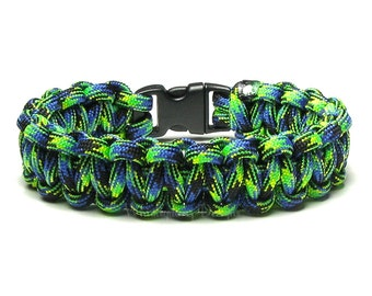 Paracord Bracelet Aquatica Blue Green Black Survival Accessory Military Veteran Patriotic First Responders Gift For Hiker Campers Life Guard