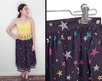 STAR Print Skirt 1980s Polyester Small Yellow Pink Blue White Black