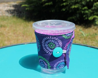 Handmade Fabric Coffee Cozy, Purple, Teal, Green, Pink, Yellow Floral, Fits Starbucks To Go cup, Iced Coffee, Fabric, travel mug