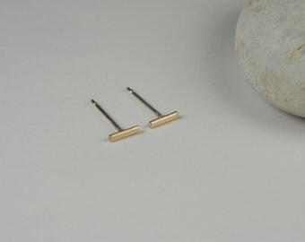 Simple Gold Earrings Gold Line Earrings Minimal Gold Studs Tiny Gold Earring 14K Studs Simple Bar Earrings