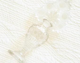 Vintage Cottage Home Floral Adorned Perfume Bottle with Ornate Stopper, Olives and Doves