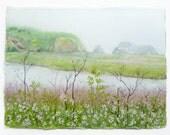 Landscape Painting, Watercolor Landscape, Northern California, Marin Headlands, California Coast, Marshes, Sea Grass, Nature Art, Estuary