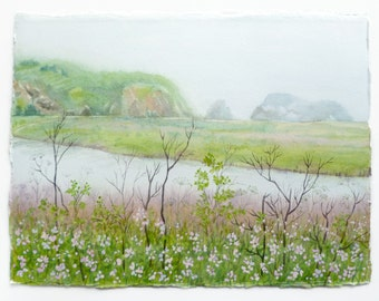Landscape Painting, Watercolor Landscape, Northern California, Marin Headlands, California Coast, Marshes, Sea Grass, Nature Art, Estuary