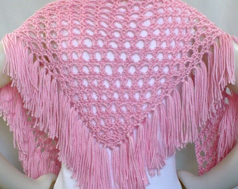 Pink Shawl with Fringe: Hand Knit Shawl in Rose Quartz, Hippie Shawl, Pink Triangle Scarf, Festival Shawl, Ready to Ship
