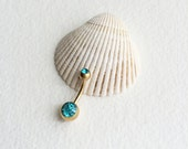 AQUA Belly ring, gold belly button ring, barbell, bellybutton ring, gold belly ring, gold navel bar belly ring piercing, AQUA BLUE