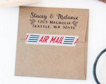 Custom Address Rubber Stamp, Calligraphy Address Stamp, Return Address Rubber Stamp, Wedding Rubber Stamp, Self Inking Rubber Stamp