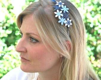 Navy blue fascinator headband, Blue headpiece, Blue headband women, Hair accessory blue - Women headband, Adult headband women, Headpiece