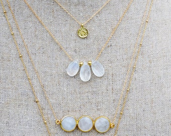 triple moonstone gold necklace  ///  everyday minimalist jewelry /// gold layering necklace