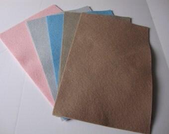 True Felt - Pastels Wool Felt Assortment, 5 sheets (8x12 inches) in Very Soft Pink, Platinum, Light Blue, Beige and Sand