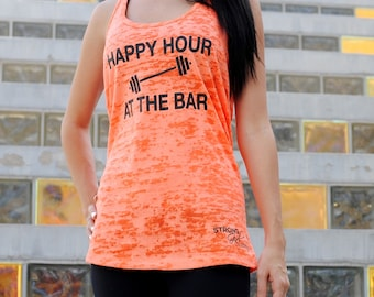 Happy Hour At The Bar Tank Top. Womens Workout Tank Top. Burnout Racerback Tank Top. Workout Racerback Tank. Funny Tank Top. Gym Tank.