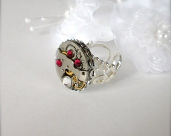 Steampunk Ring Ruby Red Filigree Ring Vintage Watch Movement Steampunk Jewelry Watch Jewelry Gift For Her Vintage Clockwork Watch Movement