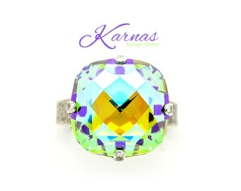HEAT WAVE 16mm Classical Crystal Adjustable Ring Made With Swarovski Elements *Pick Your Finish *Karnas Design Studio *Free Shipping*