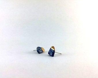 Lapis Gold Dipped Ear Studs, Natural Stone Quartz Studs, Geometric Earrings, Minimalist Jewellery, Simple Everyday Earrings, Handmade