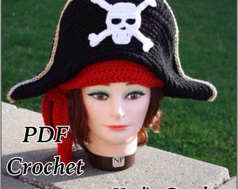 Crochet Pattern:Adult Pirate Hat,Pirate Hat,Crochet Pirate Hat,Pirate Hat and Scarf,Pirate Hat Pattern,Halloween Costume,Crochet Costume