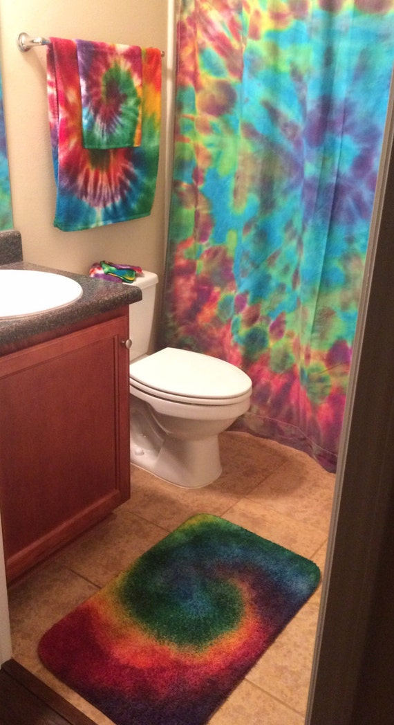 Tiedye Bathroom Set Rainbow Swirl Shower Curtain Rug Bath