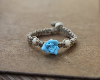 Thick Hemp Anklet/Bracelet Blue Flower Square Knot or Spiral Knot