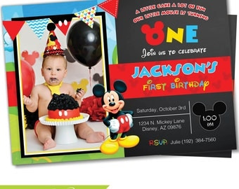 Mickey mouse Invitation, Mickey Mouse Clubhouse invite, Mickey invitation, Mickey Invite, Clubhouse, Birthday invitation, Party (#3)