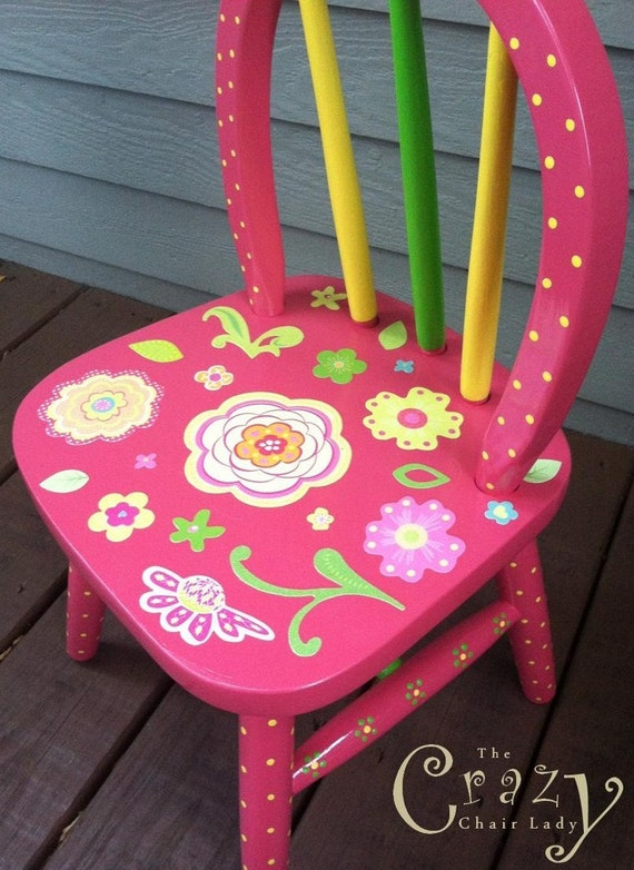 Girls chair pink hand painted flowers furniture girls room home