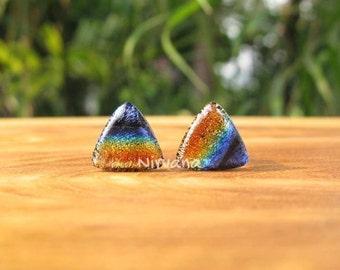 "Triangle Shaped Rainbow Dichroic Glass Plugs 4g 2g 0G 00g  7/16"" 1/2"" 9/16"" 5/8"" 3/4"" 1"" 5 mm 6 mm 8 mm 10 mm  25 mm"
