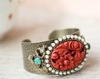 Coral Bracelet, Wedding Bracelet, Flower bracelet, Pearl Bracelet, Wedding Jewelry, Flower Jewelry, Cuff Bracelet, Hammered Cuff BR100