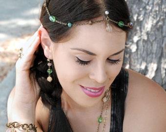 Wedding Headpiece, Sweet Romance, Gypsy Headpiece, Boho Head Piece, Wedding Hair Accessory, Bridal Head chain, Bridal Hair Jewelry H112