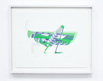 "Silkscreen, ""Grasshopper"" Geometric Large Original Screenprint, Hand printed, Limited Edition of 20 only"