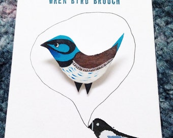 Blue Wren Bird Brooch, Handpainted, Jewellery, Bird Illustration, Badge, pin