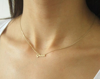 FLASH SALE 35% Tiny Name Necklace  / Personalized Gold Name Necklace / Personalized Jewelry / Bridesmaids Gift / Mother's Day Gift