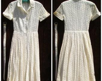 Vintage 50s Eyelet Lace Dress | Ann Kaufmann