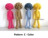 Pattern  C - Color , doll amigurumi crochet, human body amigurumi doll, seamless doll